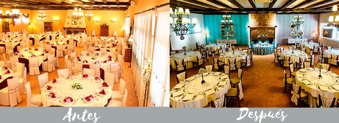 antes y después salón de bodas