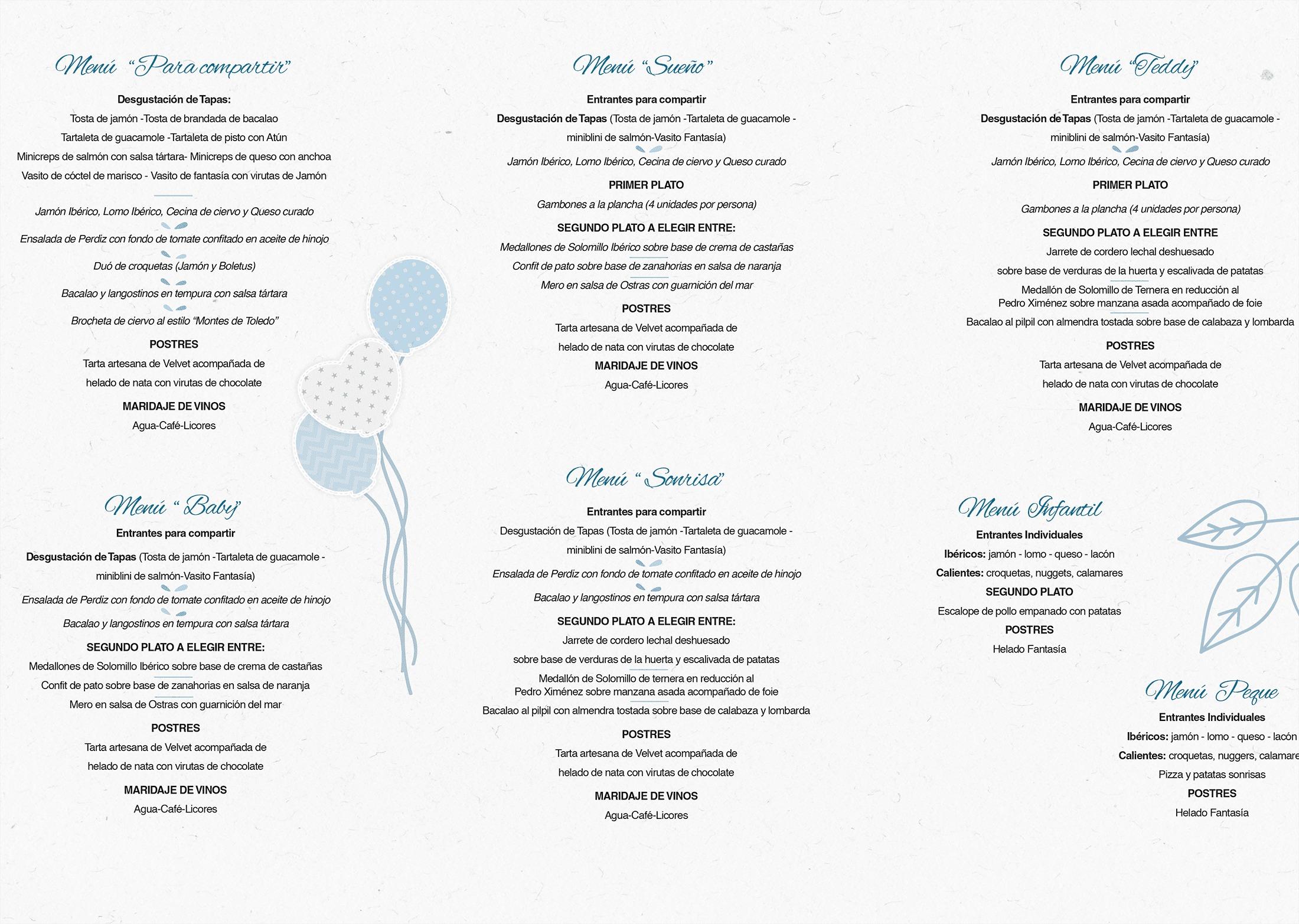 menús bautizos comuniones 2010 finca los truecos